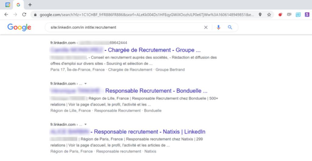 résultats requête intitle google linkedin