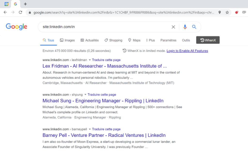 résultats requête site google
